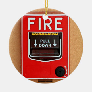 Fire Alarm Handle Double-Sided Ceramic Round Christmas Ornament