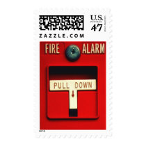 fire, alarm, emergency, fun, urban, funny, fire alarm switch, humor, brigade, firefighter, 911, geek, cool, retro, fire alarm, original, postage, stamp, Stamp with custom graphic design