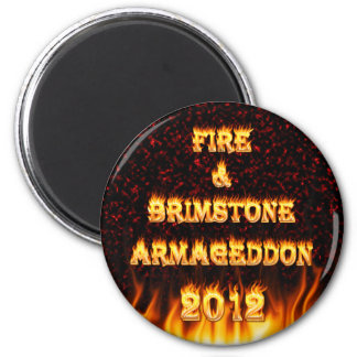 Fire and brimstone fire and red marble. 2 inch round magnet