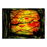 Fire and Burnt Trees Spray Paint Painting Stationery Note Card