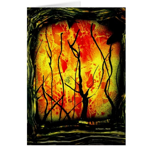 Fire and Burnt Trees Spray Paint Painting Cards