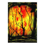 Fire and Burnt Trees Spray Paint Painting 5x7 Paper Invitation Card
