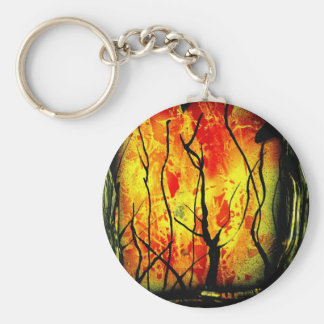 Fire and Burnt Trees Spray Paint Painting Basic Round Button Keychain