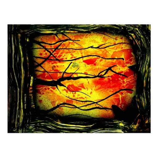 fire and burnt trees spray paint painting postcard zazzle. Black Bedroom Furniture Sets. Home Design Ideas