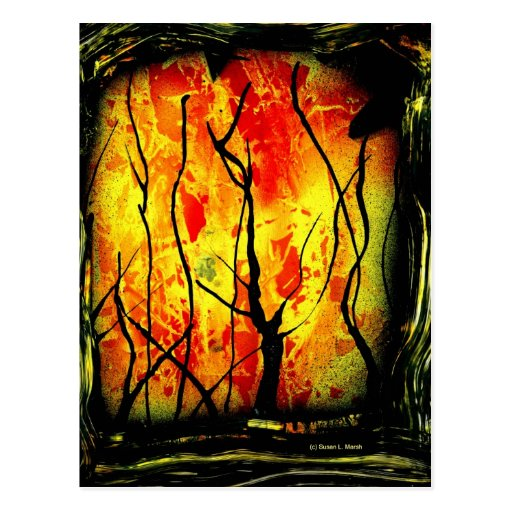 Fire and Burnt Trees Spray Paint Painting Postcard