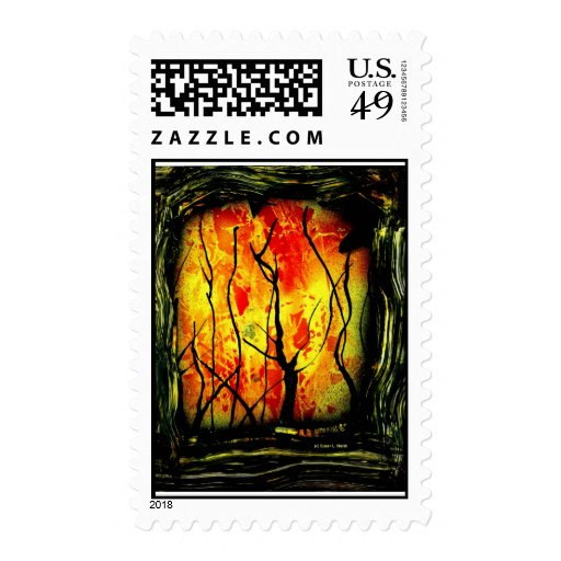 Fire and Burnt Trees Spray Paint Painting Stamp