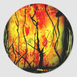 Fire and Burnt Trees Spray Paint Painting Classic Round Sticker