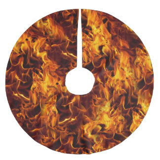 Fire and Flame Pattern Brushed Polyester Tree Skirt