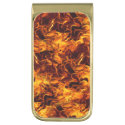 Fire and Flame Pattern Gold Finish Money Clip