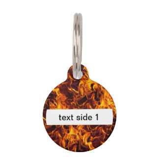 Fire and Flame Pattern Pet Name Tag