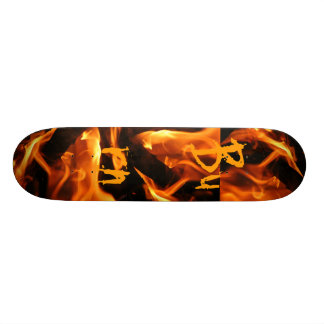 Fire and Flames Burn on Skateboard