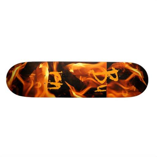 Fire and Flames Burn on Skateboard