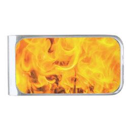 Fire and flames silver finish money clip