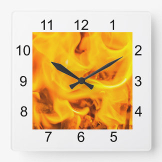 Fire and flames square wall clock