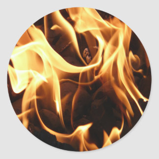 Fire and Flames Round Stickers