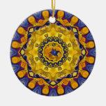 Fire and Ice Blue Mandala Ornament