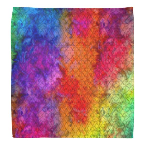 [Fire and Ice] Boho Peace Sign Tie-Dye Bandana
