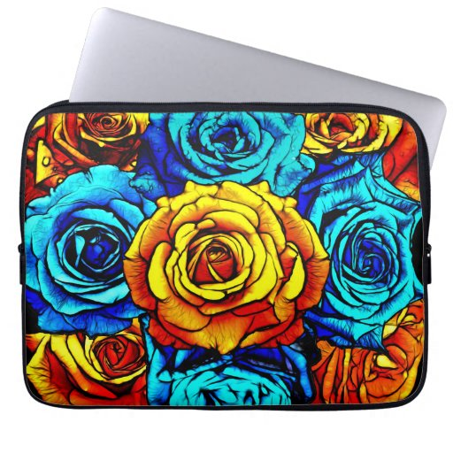 Fire and Ice Bouquet Laptop Sleeve