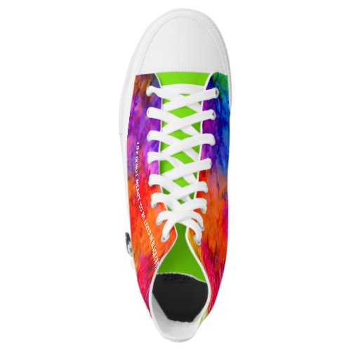[Fire and Ice] Bright Bold Rainbow Tie-Dye High-Top Sneakers