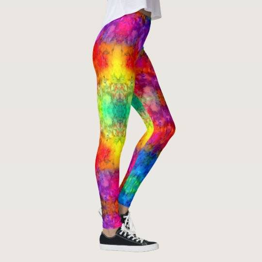 9de9a1c2a7 Fire and Ice] Bright Bold Rainbow Tie-Dye Leggings | Zazzle.com