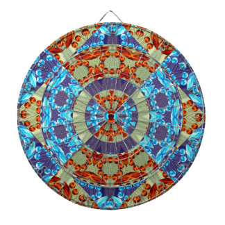 Fire and Ice Fractal Geometric Design Dartboard With Darts