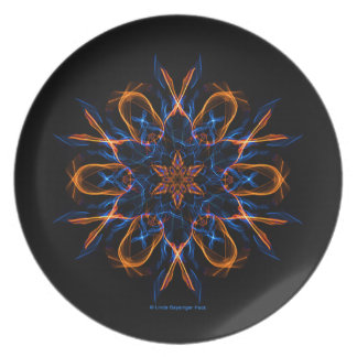 Fire and Ice Fractal Dinner Plate