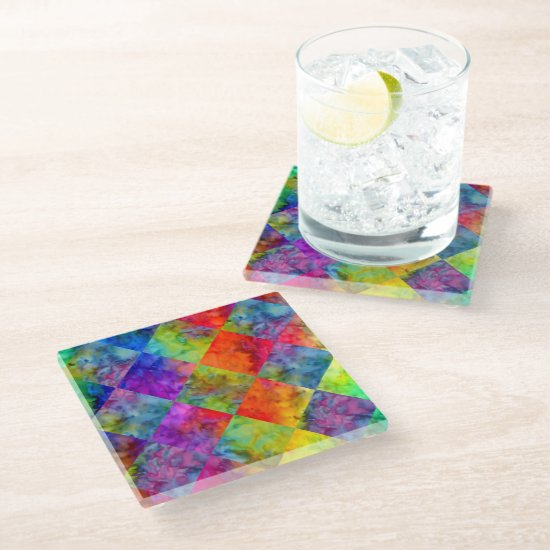[Fire and Ice: Harlequin] BoHo Gypsy Tie-Dye Glass Coaster