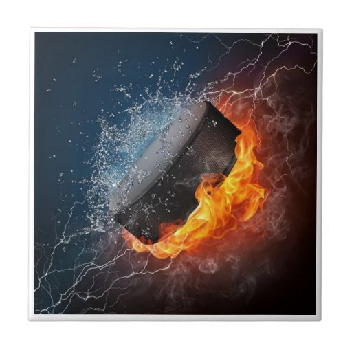 Fire and Ice Hockey Tile