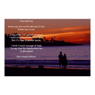 Fire And Ice Over A Burning Sunset Beach Poster