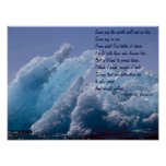 Fire and Ice over Floating Alaskan Ice Berg Poster