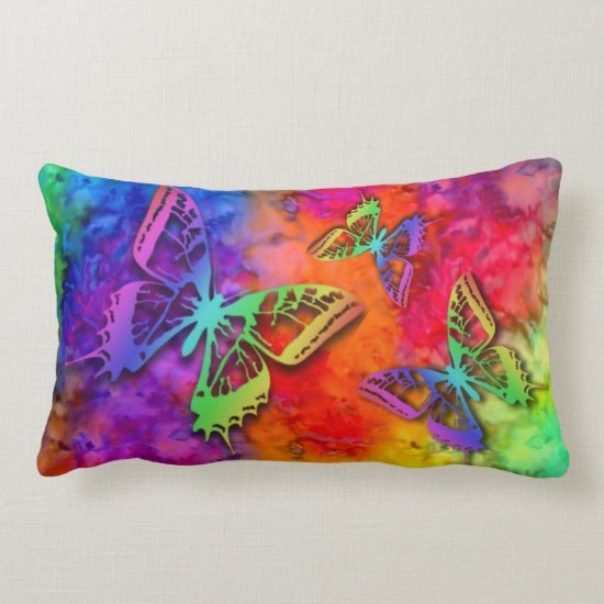 [Fire and Ice] Rainbow Boho Butterfly Tie-Dye Lumbar Pillow