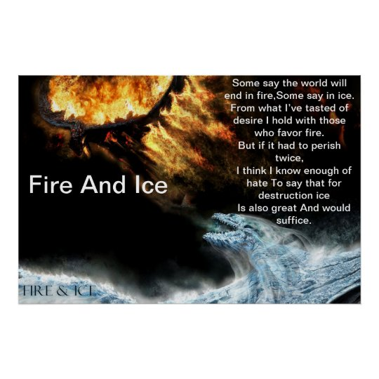 Fire And Ice With Fire Fighting Ice Dragons Poster Zazzle