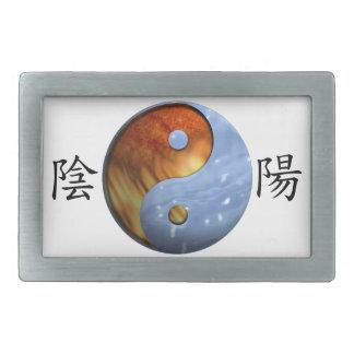 Fire and Ice Yin Yang Rectangular Belt Buckles