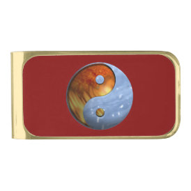 Fire and Ice Yin Yang Gold Finish Money Clip