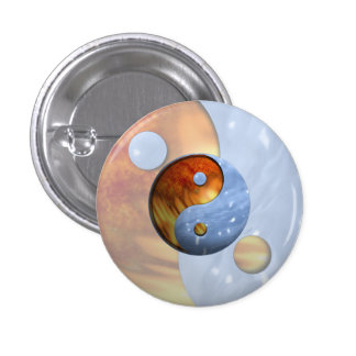 Fire and Ice Yin Yang Pinback Button