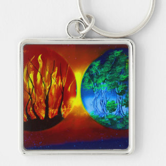 fire and life spraypainting nature image Silver-Colored square keychain
