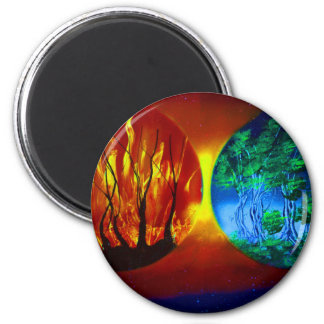 fire and life spraypainting nature image refrigerator magnet