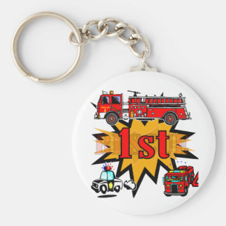 Fire and Rescue 1st Birthday Keychain