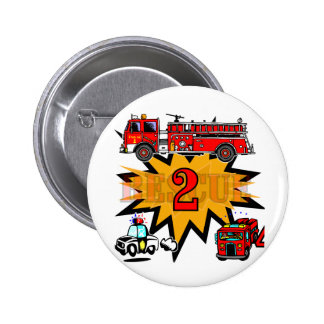 Fire and Rescue 2nd Birthday Tshirts and Gifts Button