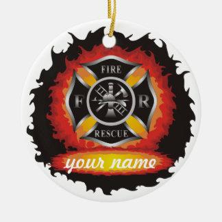 Fire and Rescue Ceramic Ornament