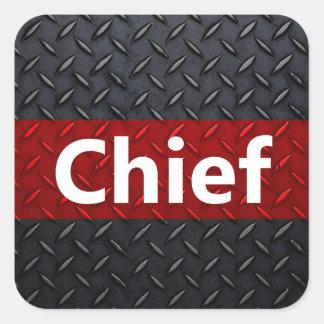 Fire and Rescue Diamond Plate Square Sticker