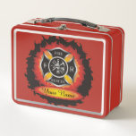 """Fire and Rescue Flames Firefighter Metal Lunch Box<br><div class=""""desc"""">The title &quot;firefighter&quot; does not begin to describe the range of services the men and women of fire and rescue teams provide. When disaster strikes - fire or flood, tornado or hurricane, accident or illness - firefighters are amongst the first to respond, often risking injury or death in order to...</div>"""