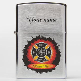 Fire and Rescue Flames Firefighter Zippo Lighter