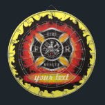 "Fire and Rescue Personalized Dartboard<br><div class=""desc"">The title &quot;firefighter&quot; does not begin to describe the range of services the men and women of fire and rescue teams provide. When disaster strikes - fire or flood, tornado or hurricane, accident or illness - firefighters are amongst the first to respond, often risking injury or death in order to...</div>"