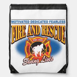 Fire and Rescue Saving Lives Drawstring Bag