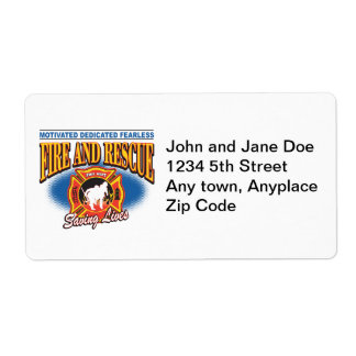 Fire and Rescue Saving Lives Shipping Label