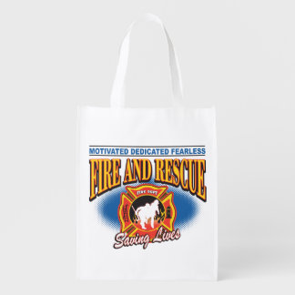 Fire and Rescue Saving Lives Reusable Grocery Bag