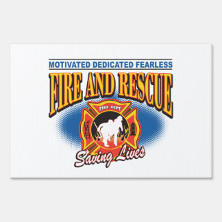 Fire and Rescue Saving Lives Yard Signs