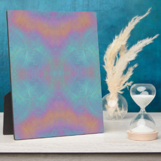 Fire and Sea - Pink and Blue Abstract Plaque