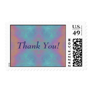 Fire and Sea - Pink and Blue Abstract - Thank You! Postage